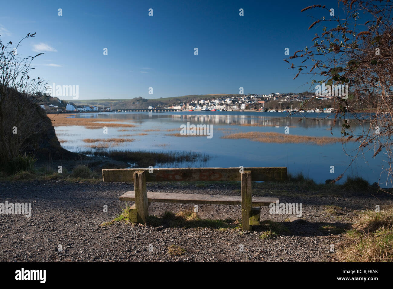 Bideford Bridge and the quay on a early summers morning - Stock Image
