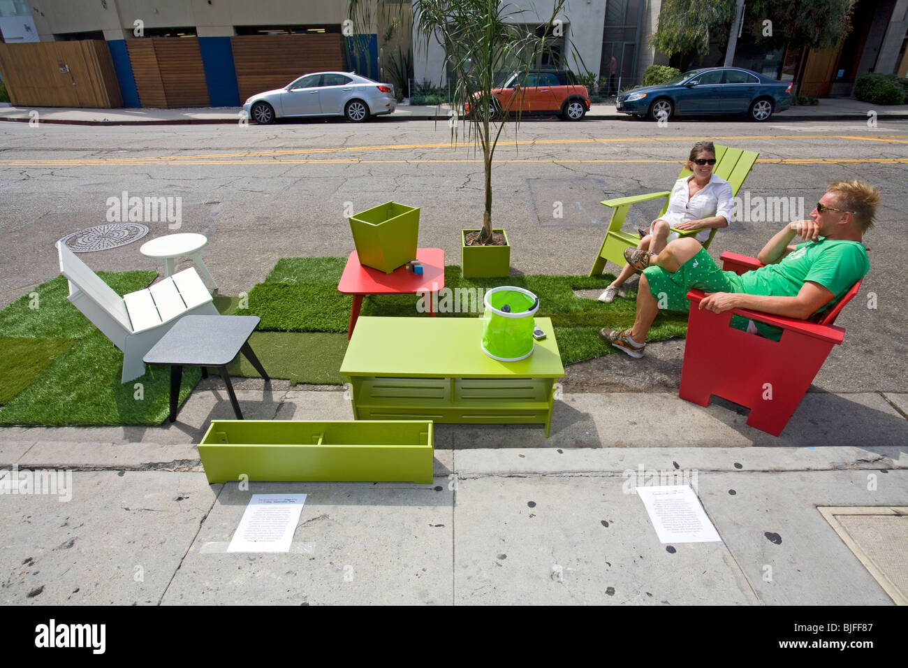 Third annual Park[ing] Day LA, Abbot Kinney Blvd, Venice, Los Angles, California - Stock Image