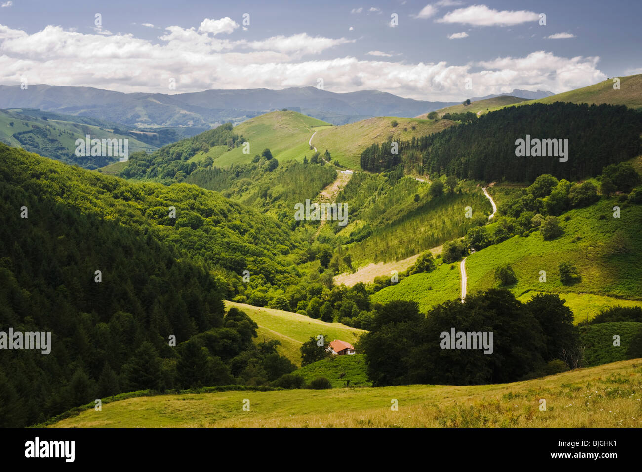 View from the road between the villages of Etxalar and Zugararrmurdi, Navarre, northern Spain Stock Photo