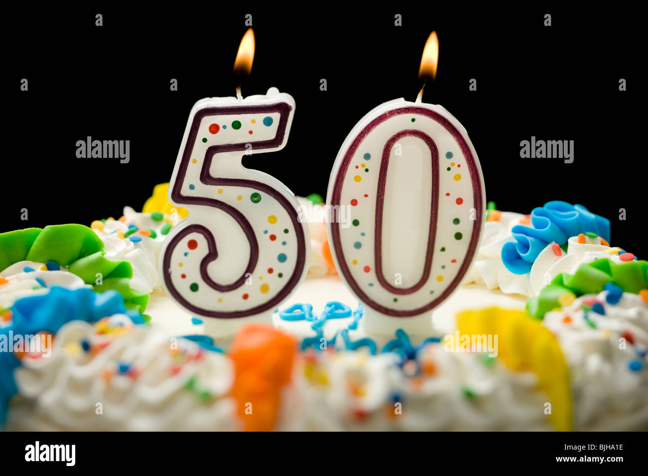 Birthday Cake With Candles That Say 50 Stock Photo 28655242 Alamy