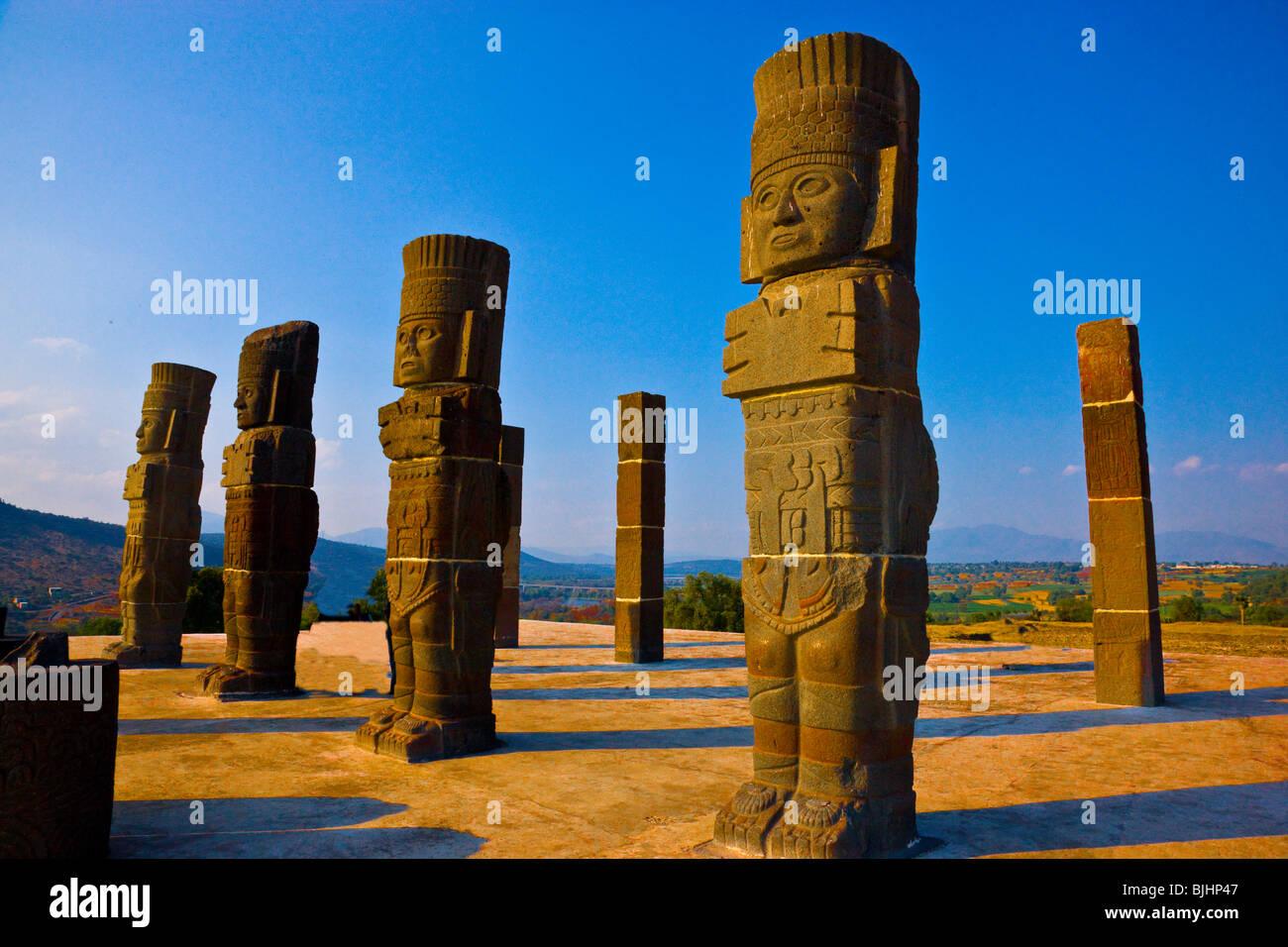 Tula Atlantean Warriors, Tula National Park, Mexico, huge statues above Pyramid B, legendary Toltec capital, 900 - Stock Image