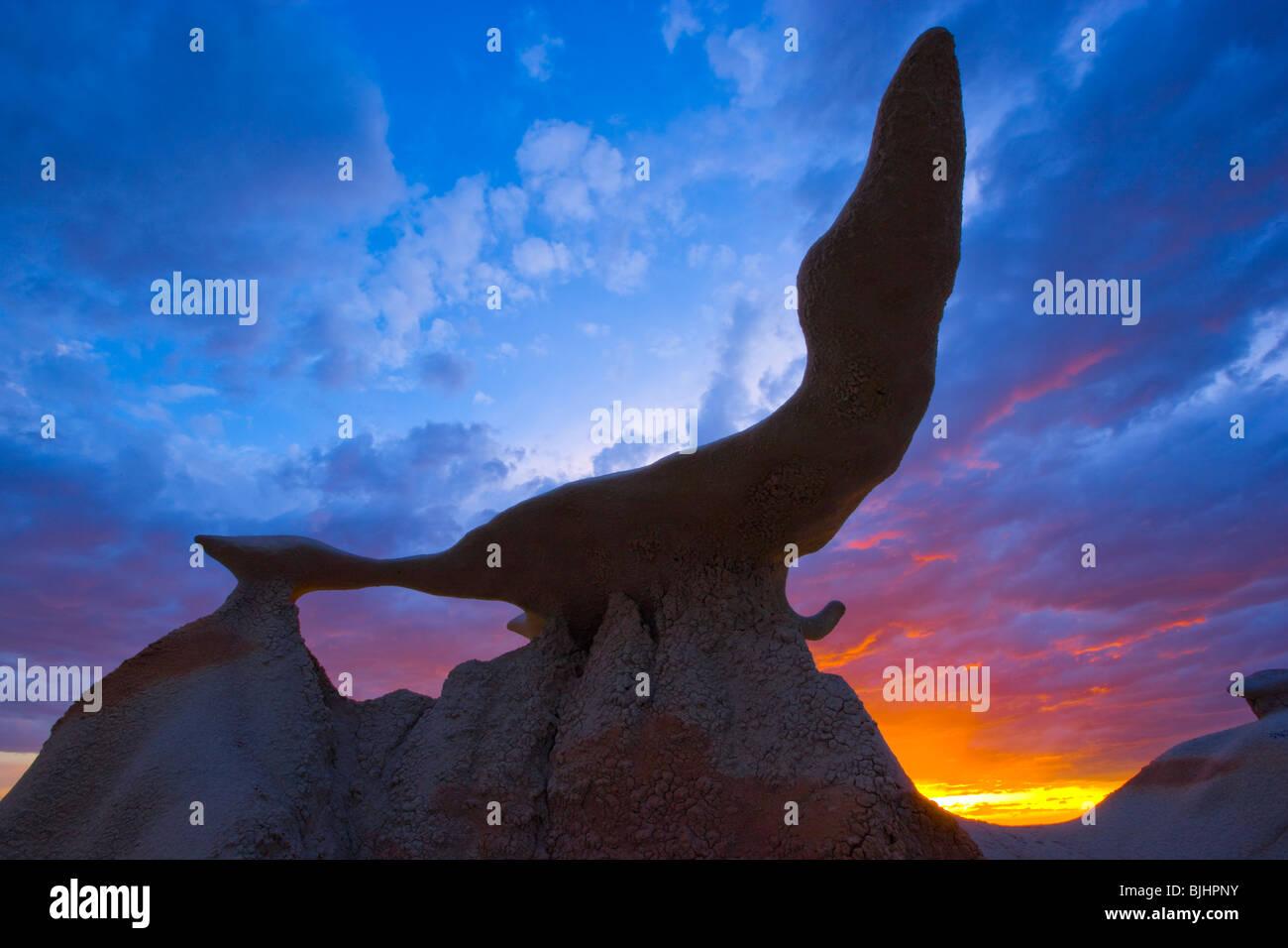 Seal Rock at sunset, Bisti Wilderness, New Mexico, Finely balanced rock, Badlands area near Farmington, New Mexico, - Stock Image