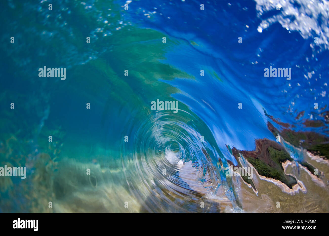 A perfect endless blue wave. - Stock Image