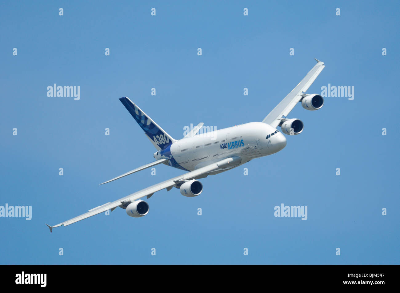 Airliner Airbus A380 flying during 48th Paris International Air show 2009, Le Bourget, Paris, France - Stock Image