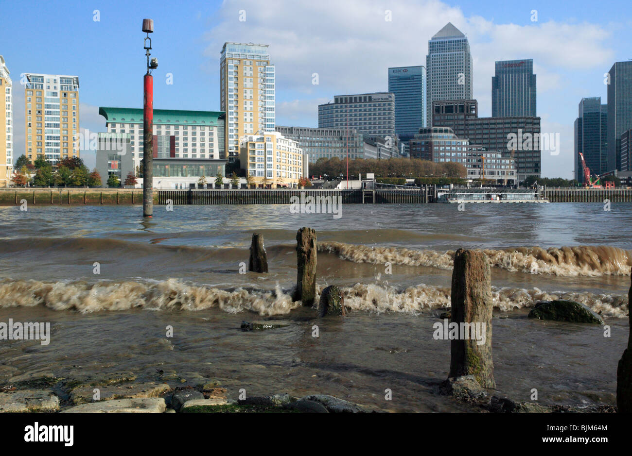 View of Canary Wharf, taklen from the Thames beach at low tide, Rotherhithe, South East London Stock Photo