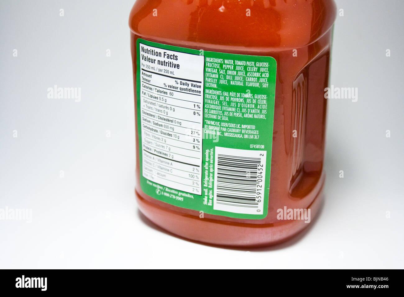 vegetable cocktail juice healthy nutrition tasteful tasty food label content concentration serving veggie - Stock Image