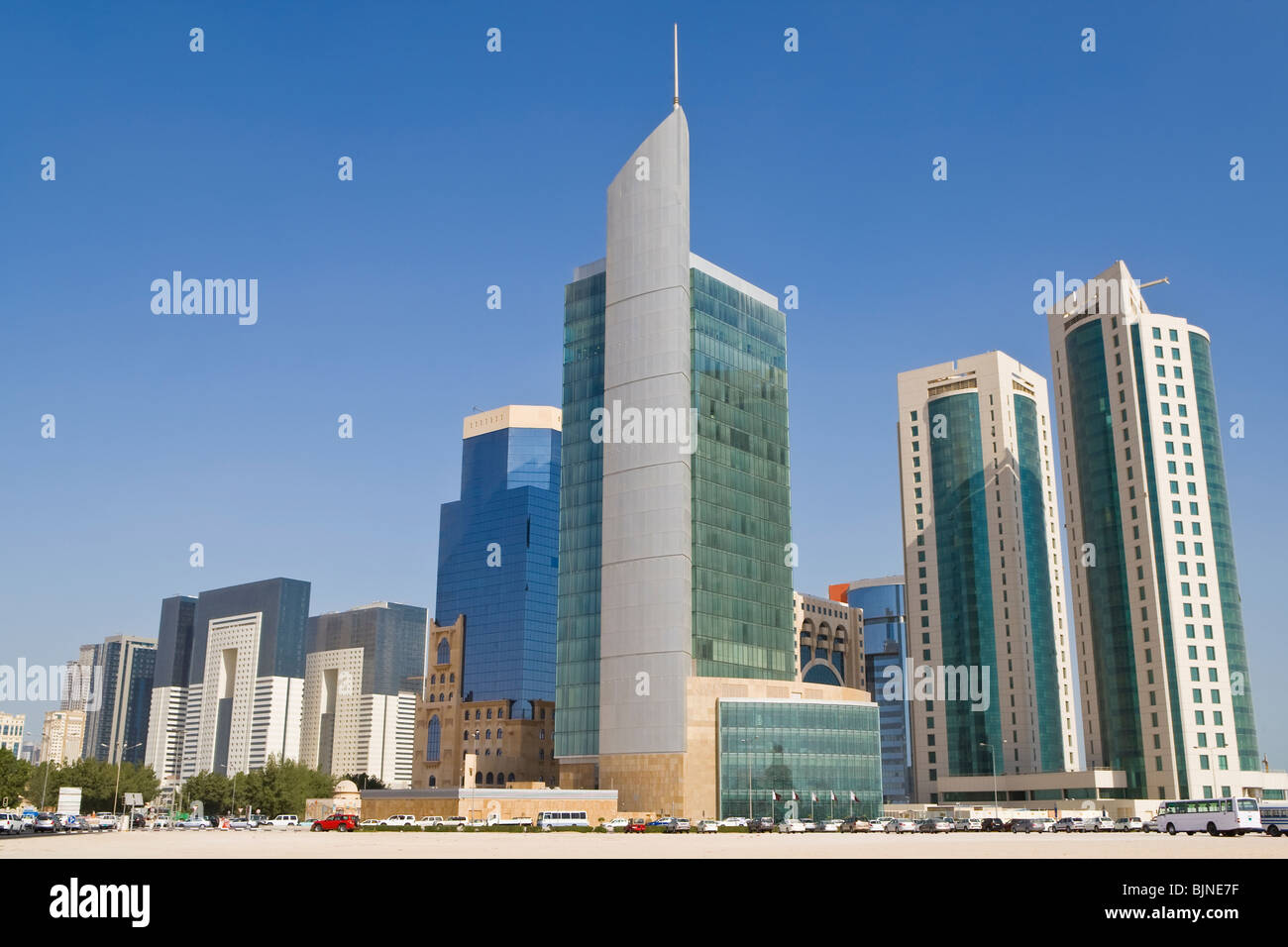 Photograph of the skyscrapers and office buildings of the Doha Financial District Skyline, Qatar - Stock Image