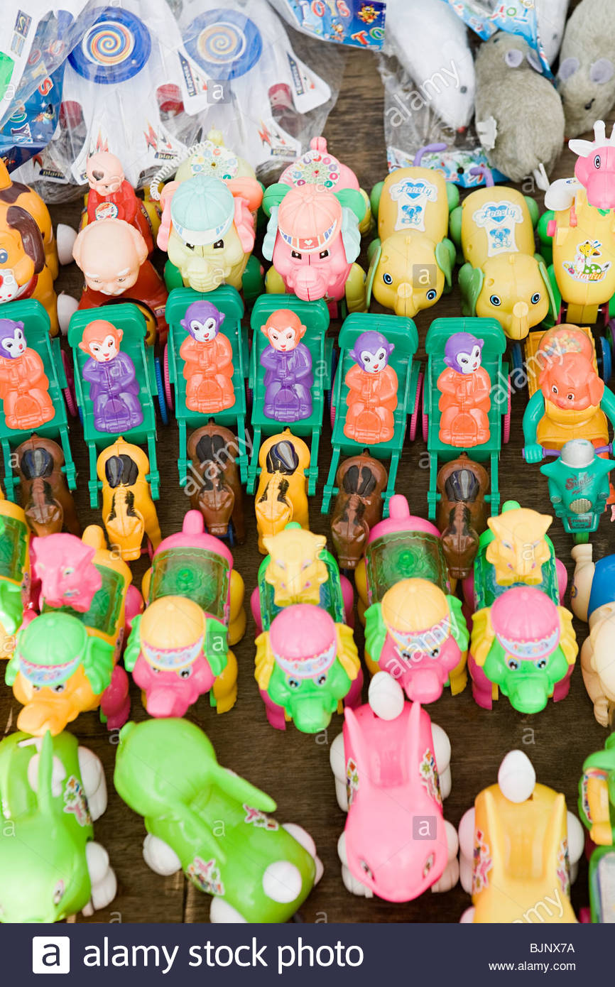 Toys on a market stall - Stock Image