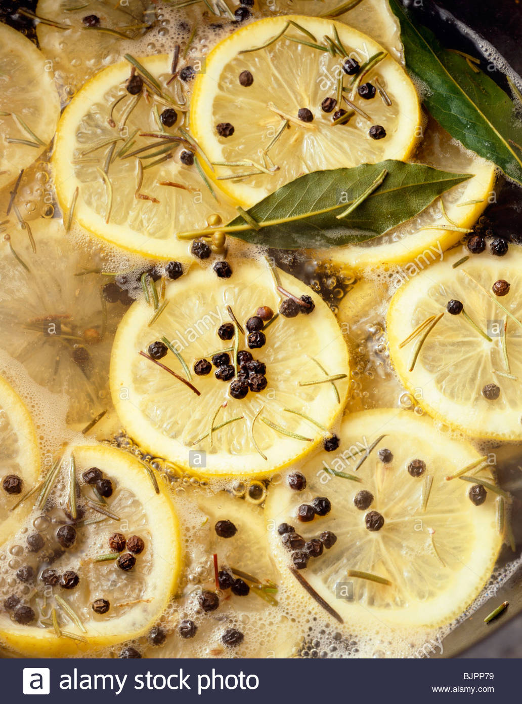 Lemon Pepper Bay Leaf and Rosemary Boil - Stock Image