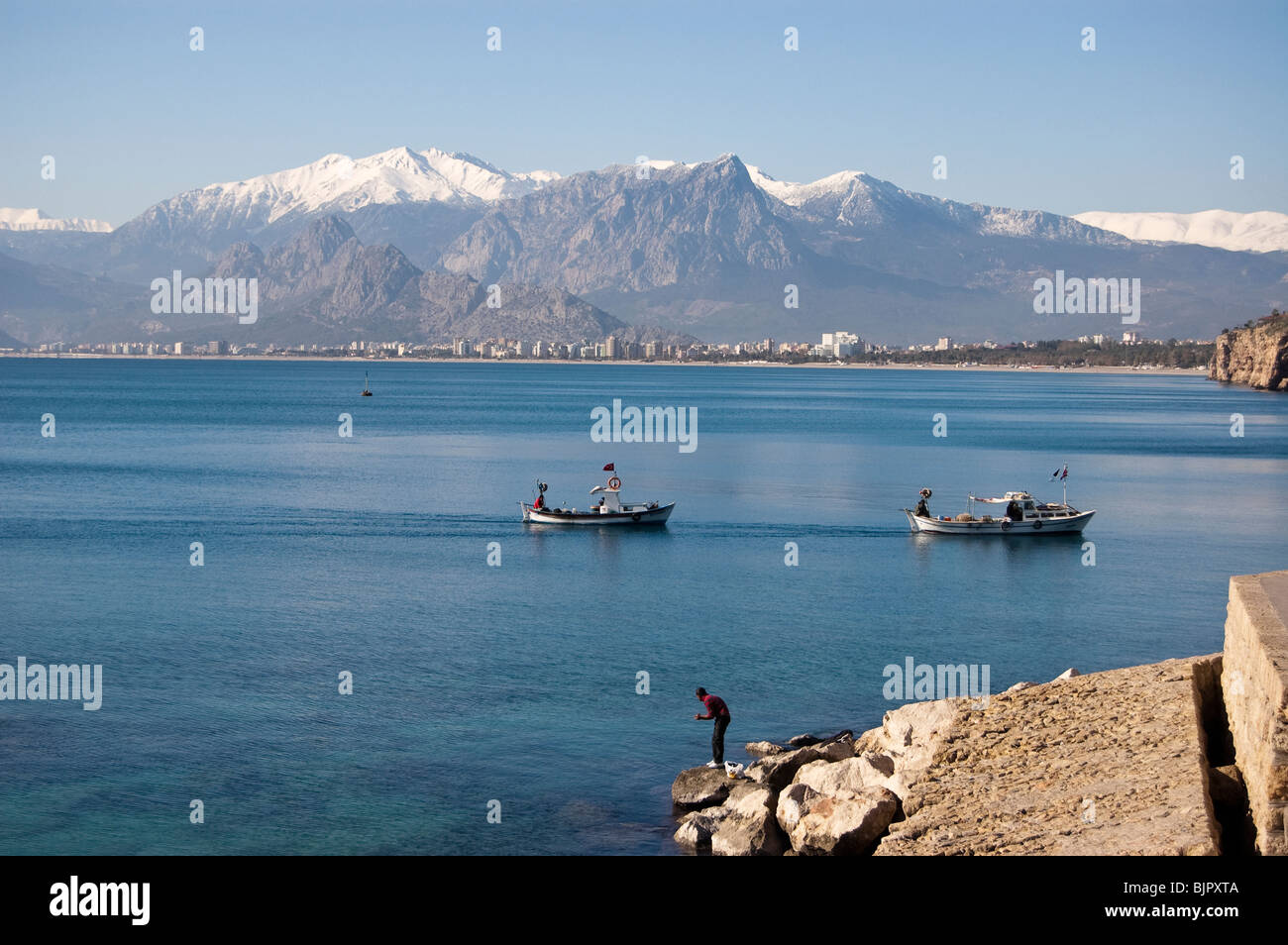 View of Taurus Mountains from the harbour of Old Antalya, Turkey Stock Photo