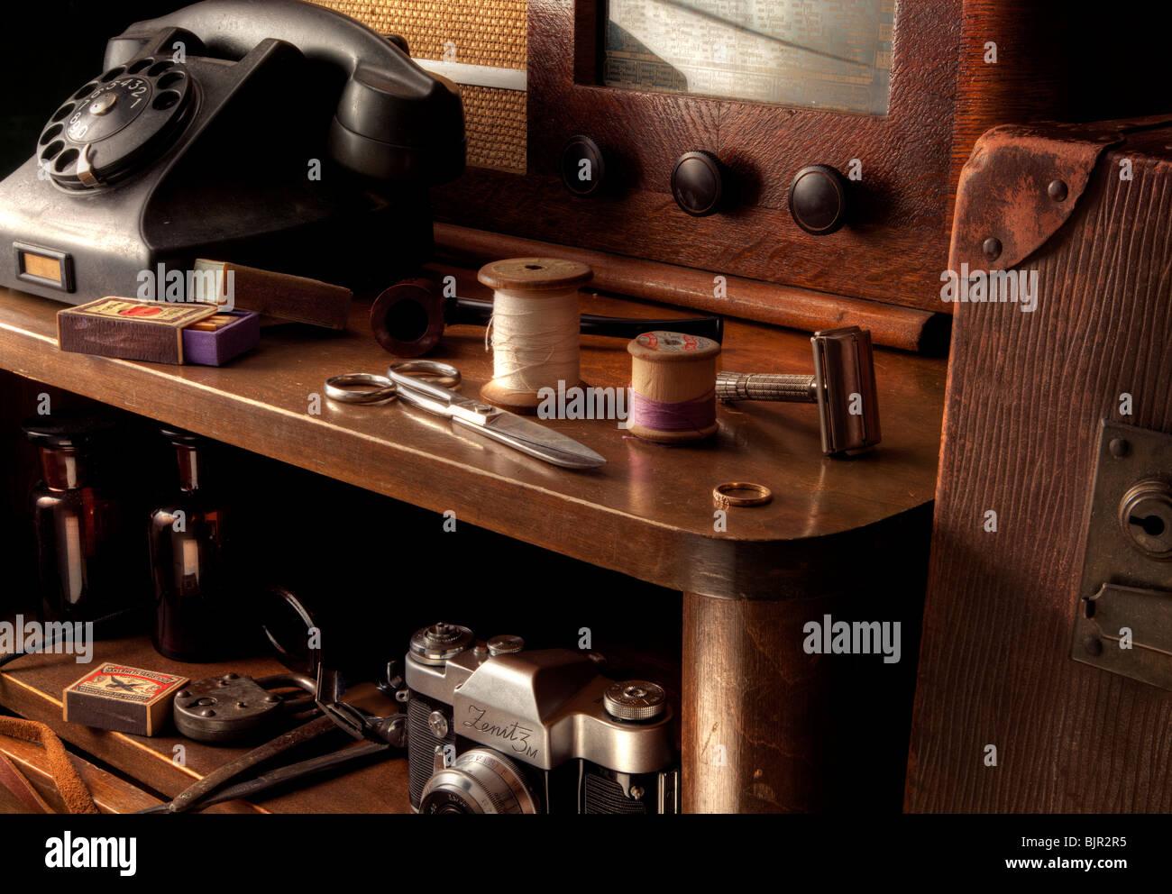 Vintage table scene still life - Stock Image
