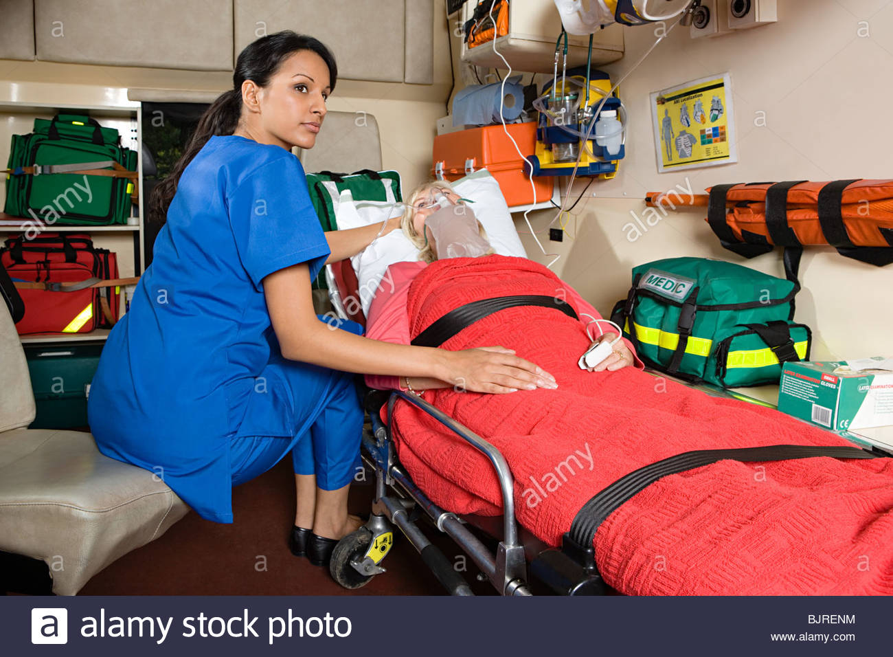Nurse and patient in ambulance - Stock Image