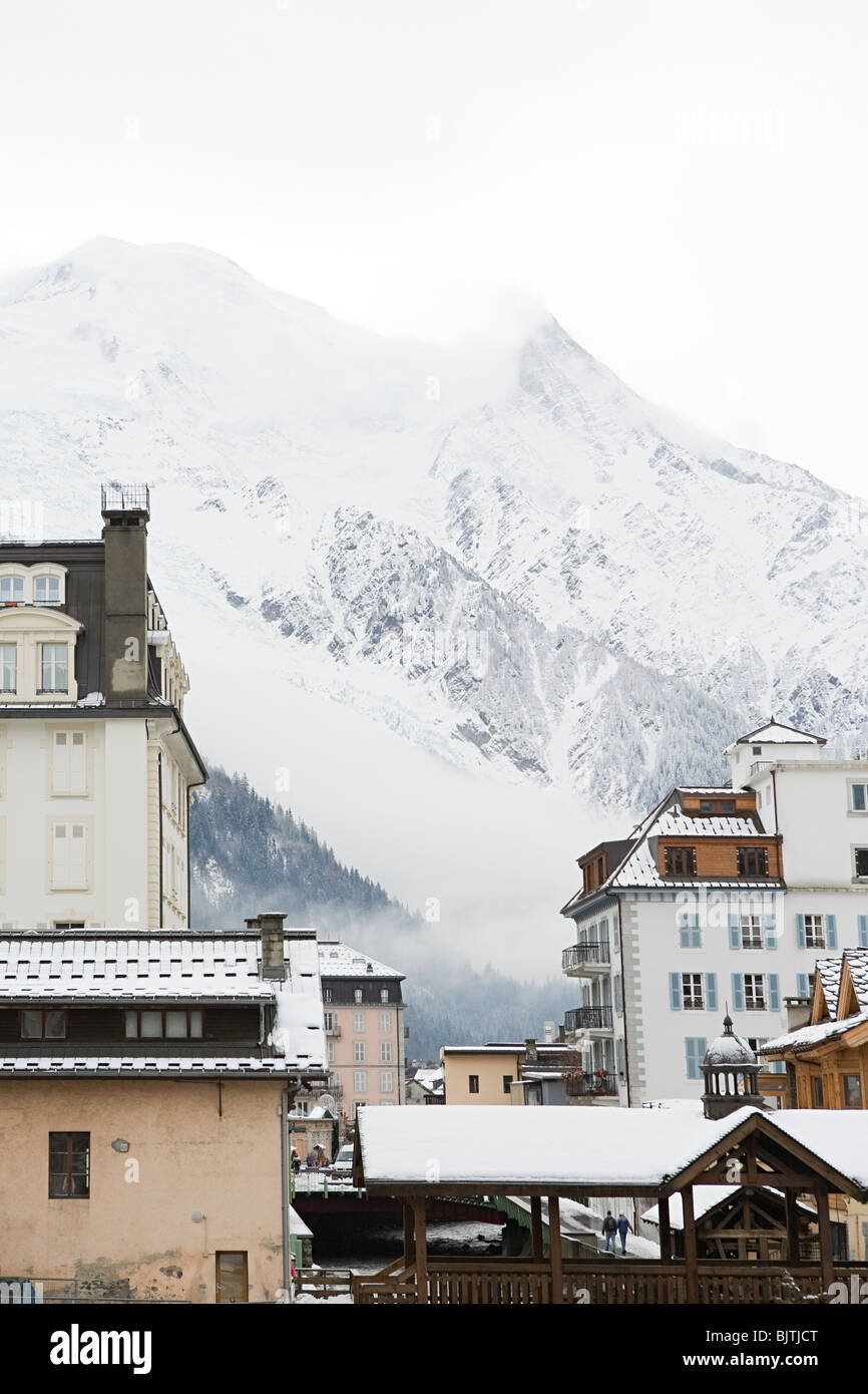 Mountain and buildings in chamonix - Stock Image