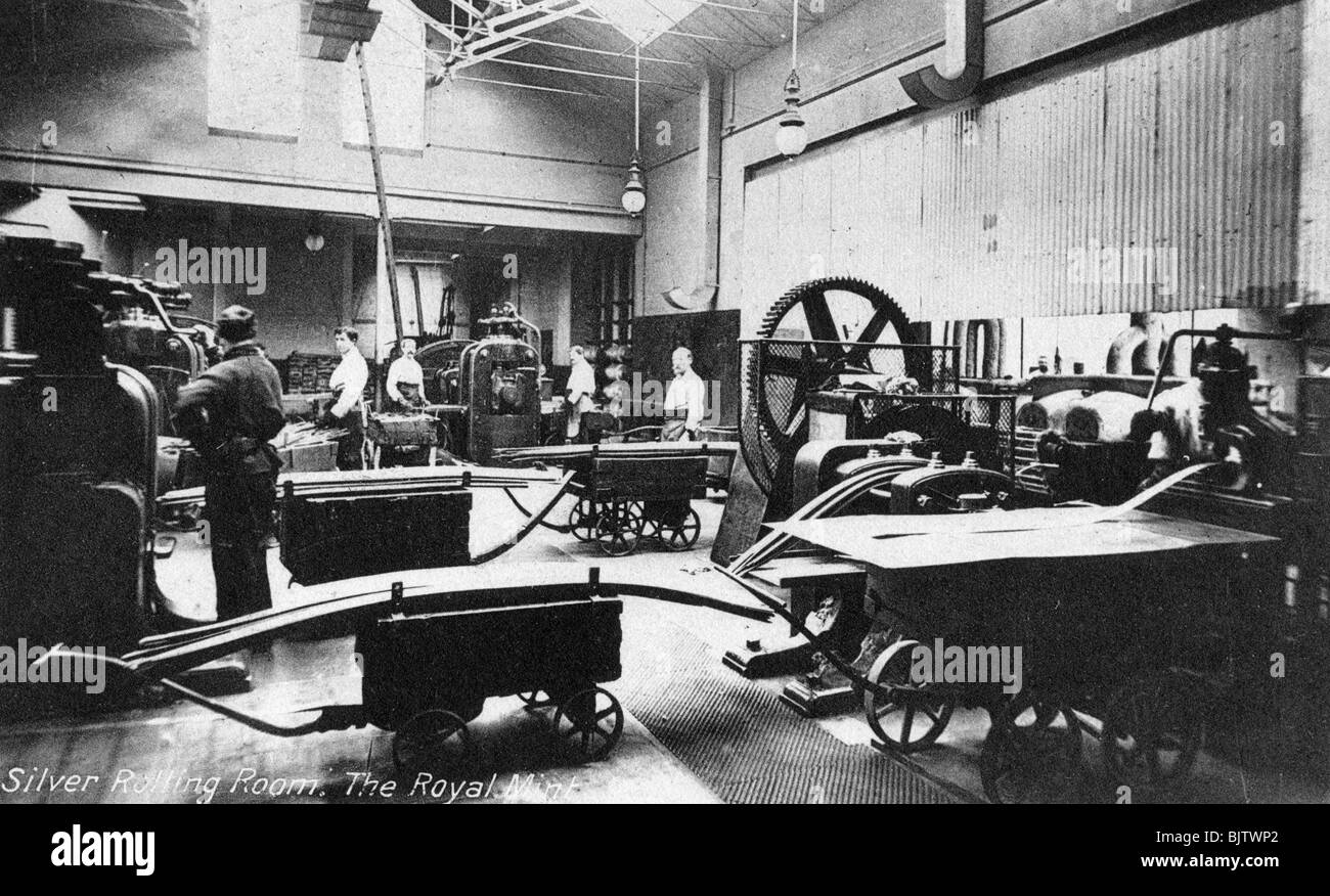 The Silver Rolling Room, the Royal Mint, Tower Hill, London, early 20th century. Stock Photo