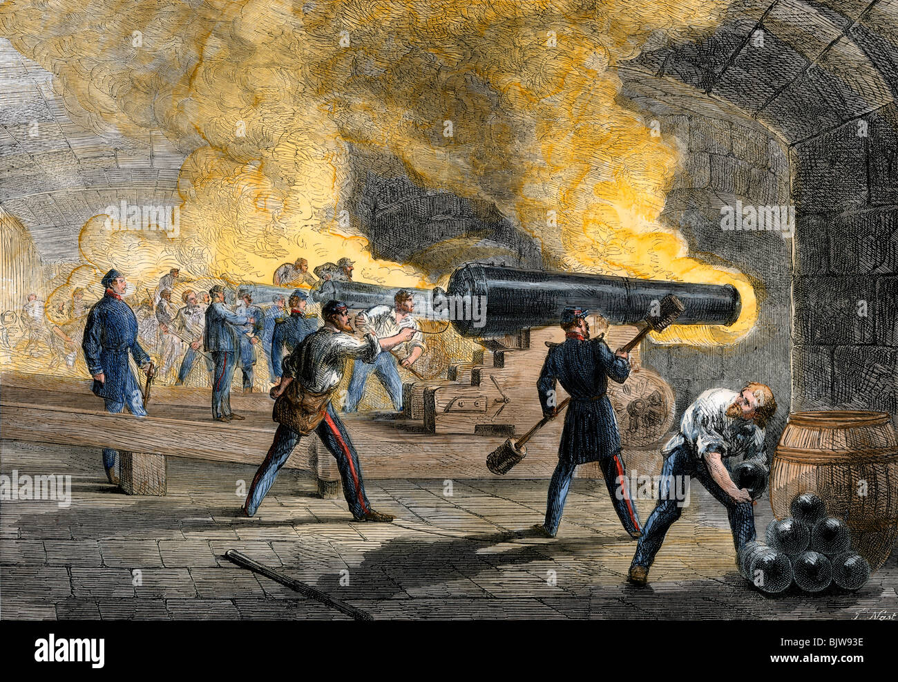 Big guns of Fort Sumter returning fire from Fort Moultrie at the start of the Civil War, 1861 Stock Photo