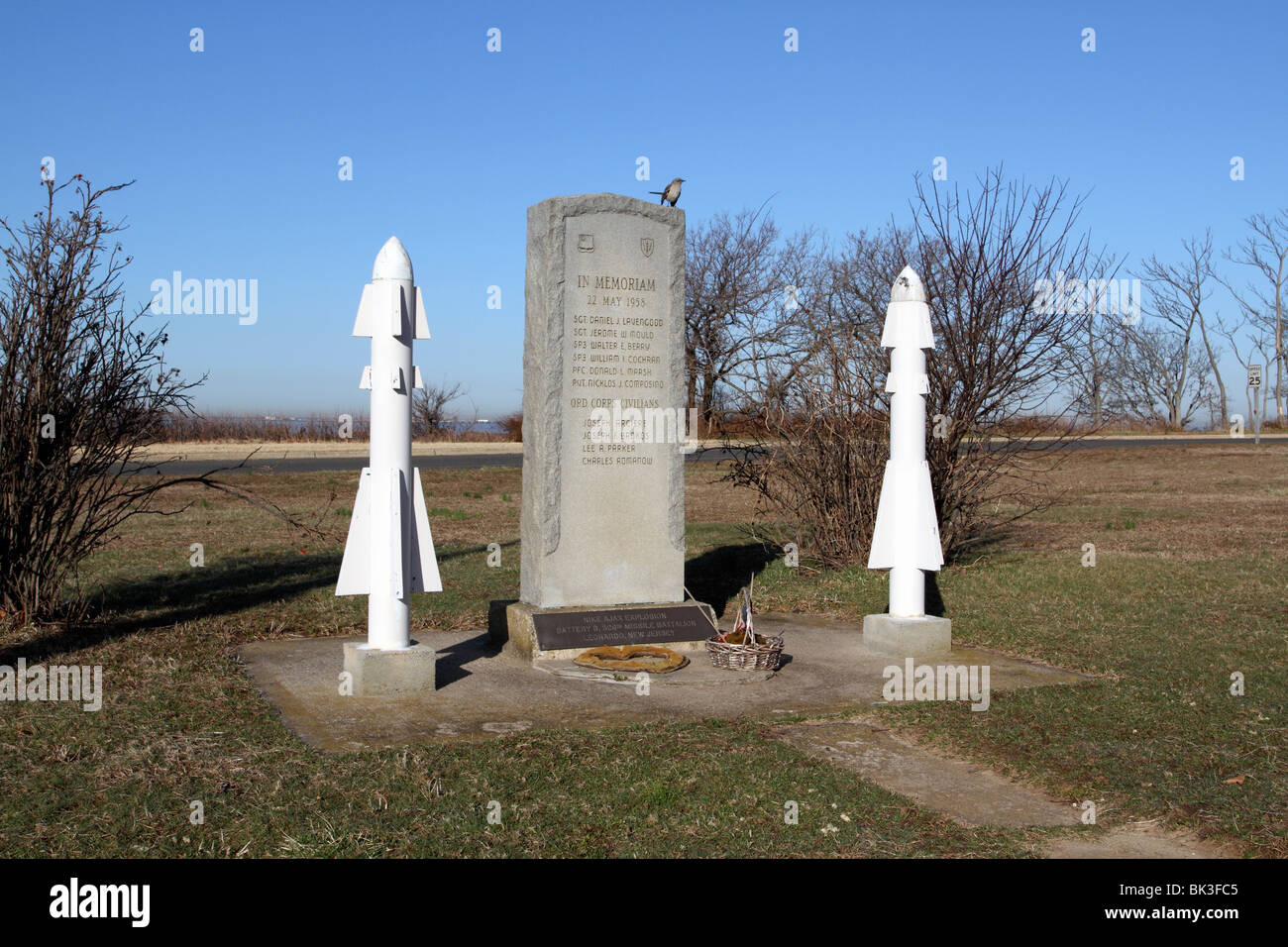 Memorial to Nike missile explosion, Fort Hancock, Sandy Hook, Gateway National Recreation Area - Stock Image