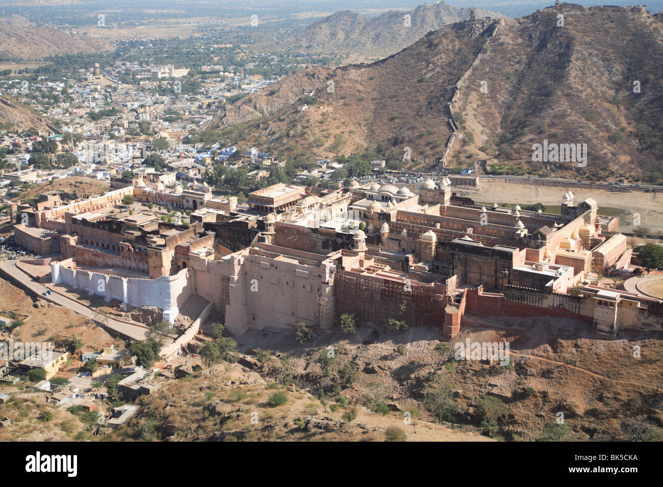 Overhead view of Amber Fort Palace, Jaipur, Rajasthan, India, Asia - Stock Image