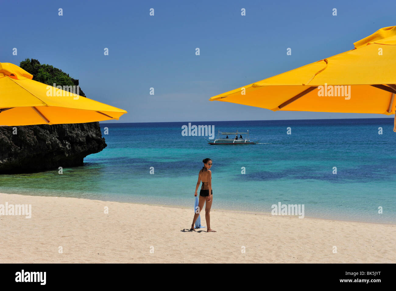Beach, Shangri La Boracay Resort and Spa in Boracay, Philippines, Southeast Asia, Asia - Stock Image