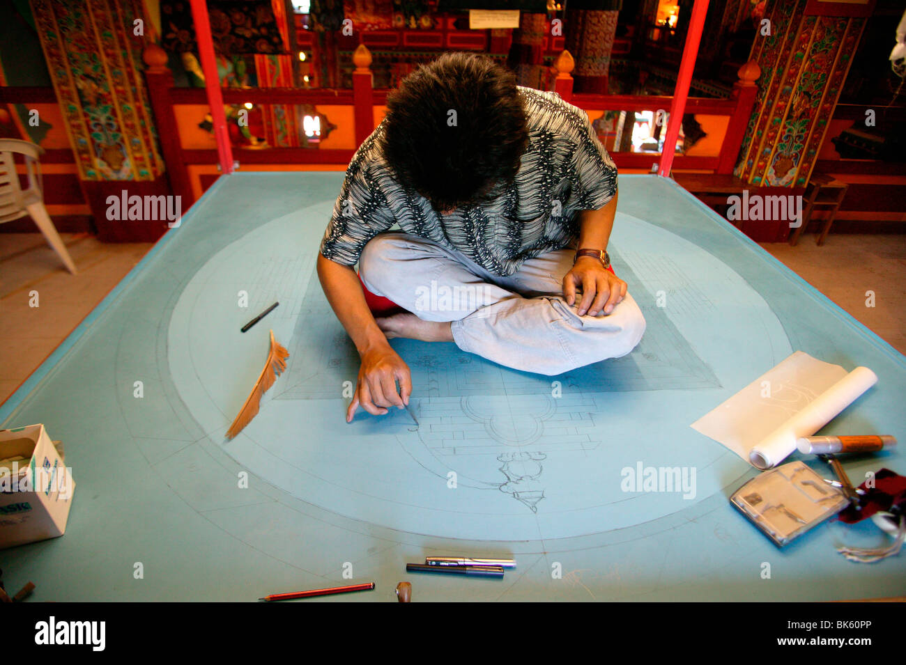 Drawing of a mandala in the Temple of the Thousand Buddhas, Dashang Kagyu Ling congregation, Saone et Loire, France - Stock Image