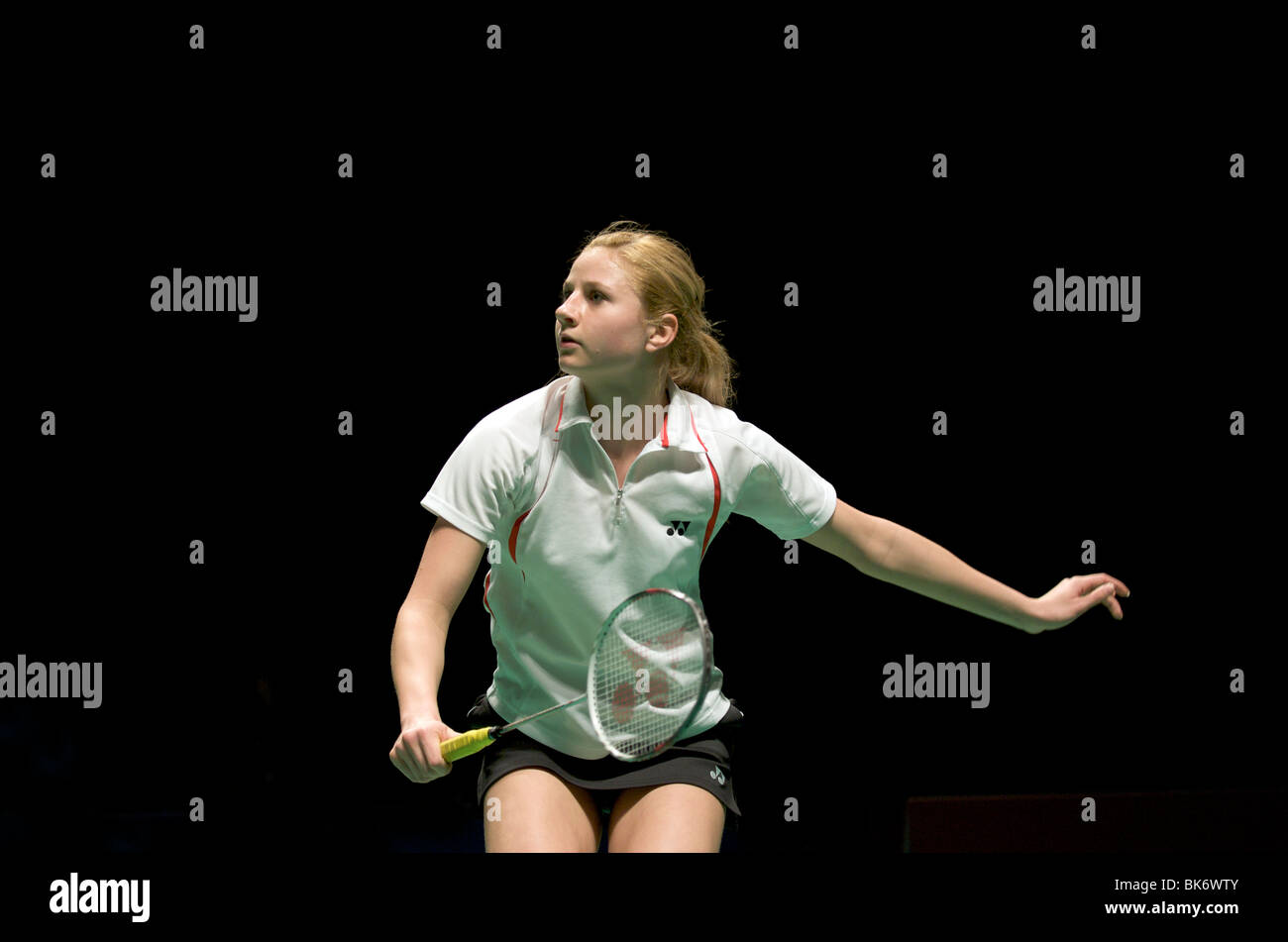 Anna Narel prepares to receive a serve at the European Badminton Championships in Mancester 2010 - Stock Image