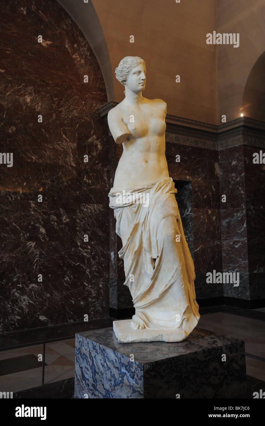 France Paris Louvre museum art  Venus de Milo ancient Greek statue sculpture Aphrodite goddess of love Stock Photo
