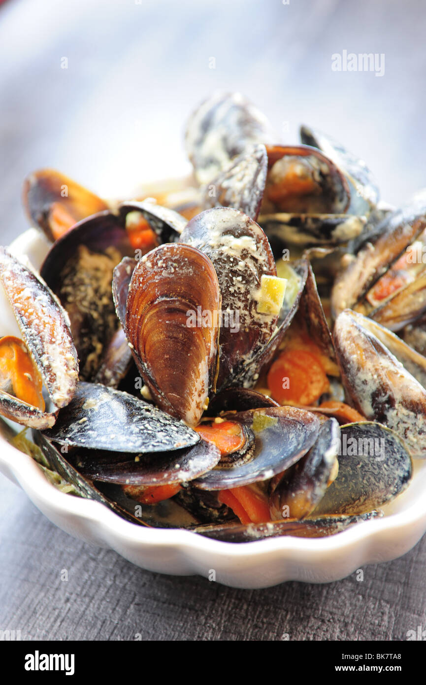 France Cote d'Azur Provence Cassis mussels at restaurant shell fish  dining fresh Mediterranean Sea Stock Photo