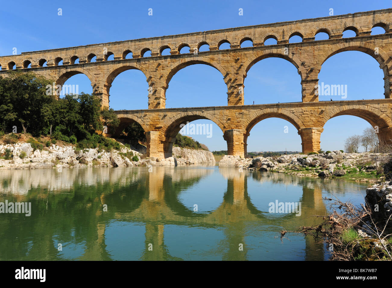 Europe France Provence Pont du Gard ancient Roman aqueduct Gard River tourist attraction Stock Photo