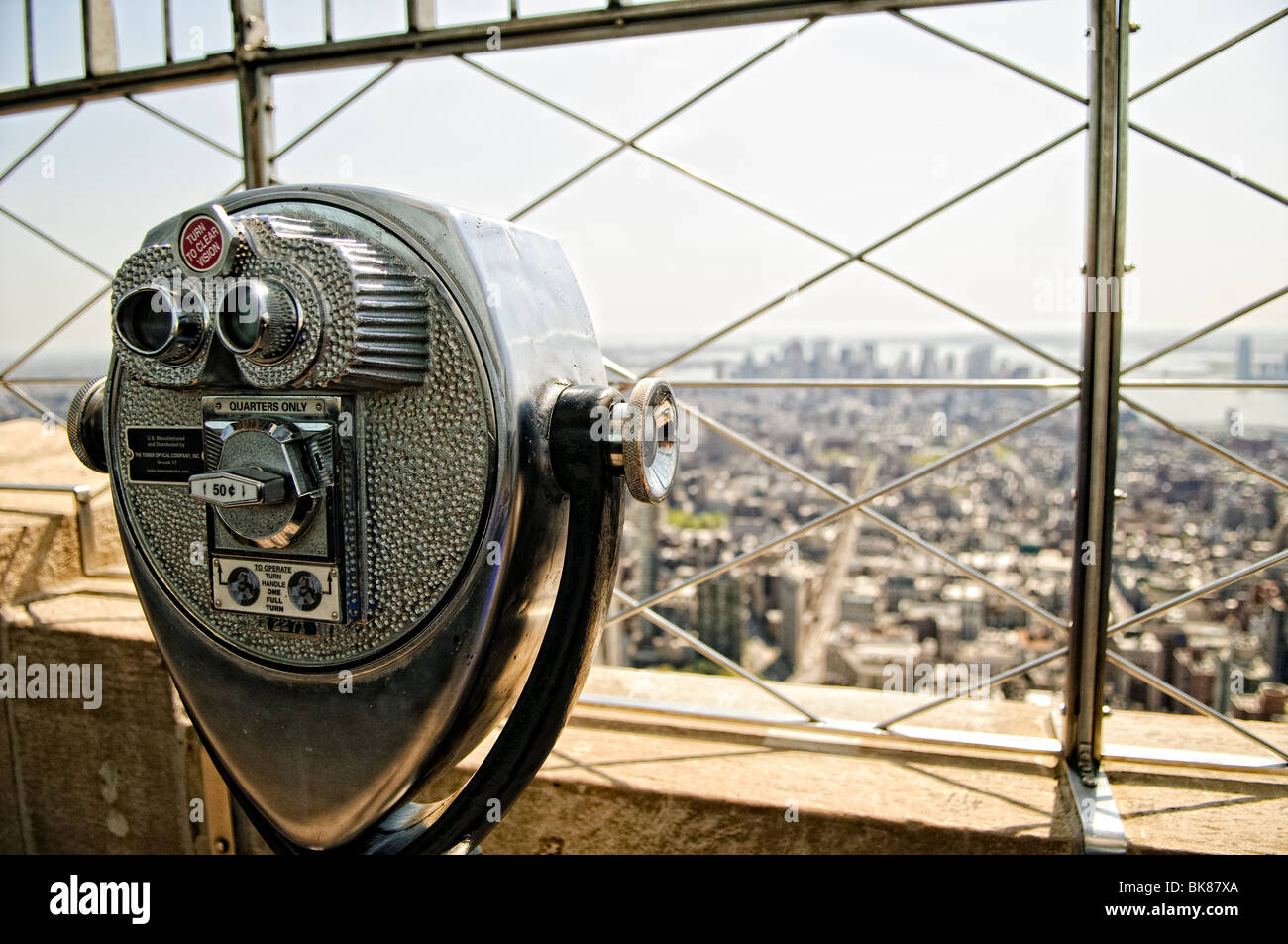 View from the top of the Empire State Building in New York City on a clear spring day. - Stock Image