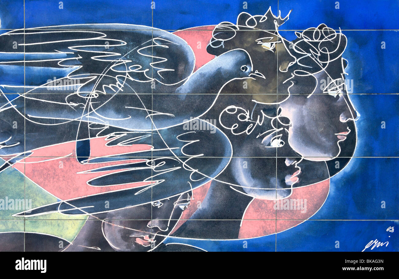 Wall mural Ta Panta Rei by the Swiss artist Hans Erni, Geneva, Switzerland - Stock Image
