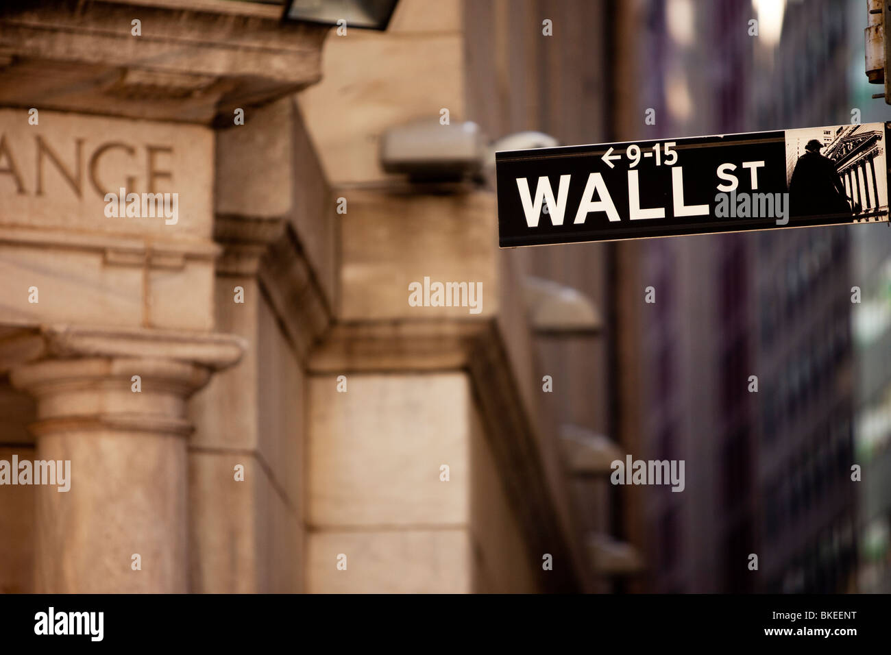 Wall Street sign at the back entrance to the New York Stock Exchange Building, New York City USA - Stock Image