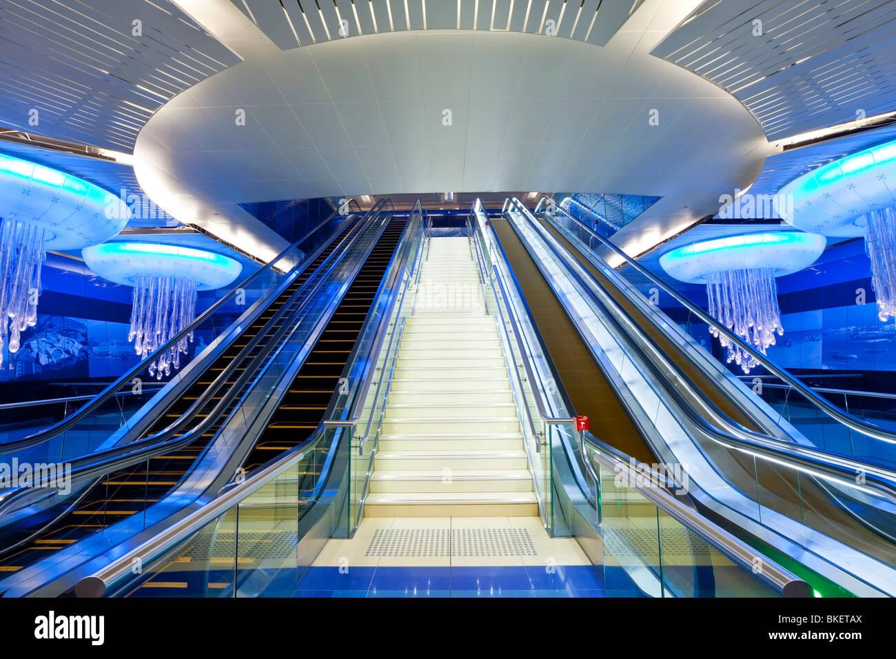 Dubai Metro station, Modern Interior Design, opened in 2010, Dubai, UAE, United Arab Emirates - Stock Image
