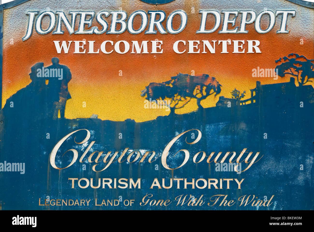 'Gone with the Wind' tourism sign in Jonesboro, Georgia, USA - Stock Image