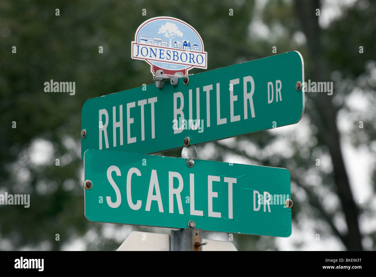 Street signs displaying the names of the main characters of 'Gone with the Wind.'  Jonesboro, Georgia, USA - Stock Image