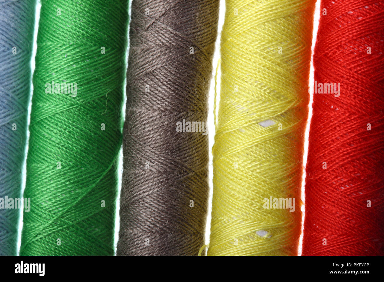 small sewing cotton in many colors, cotton, to stitch - Stock Image