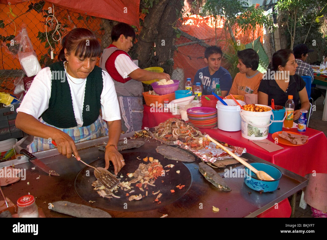 Food vendor along the Xochimilco canals within Mexico City, Mexico. - Stock Image