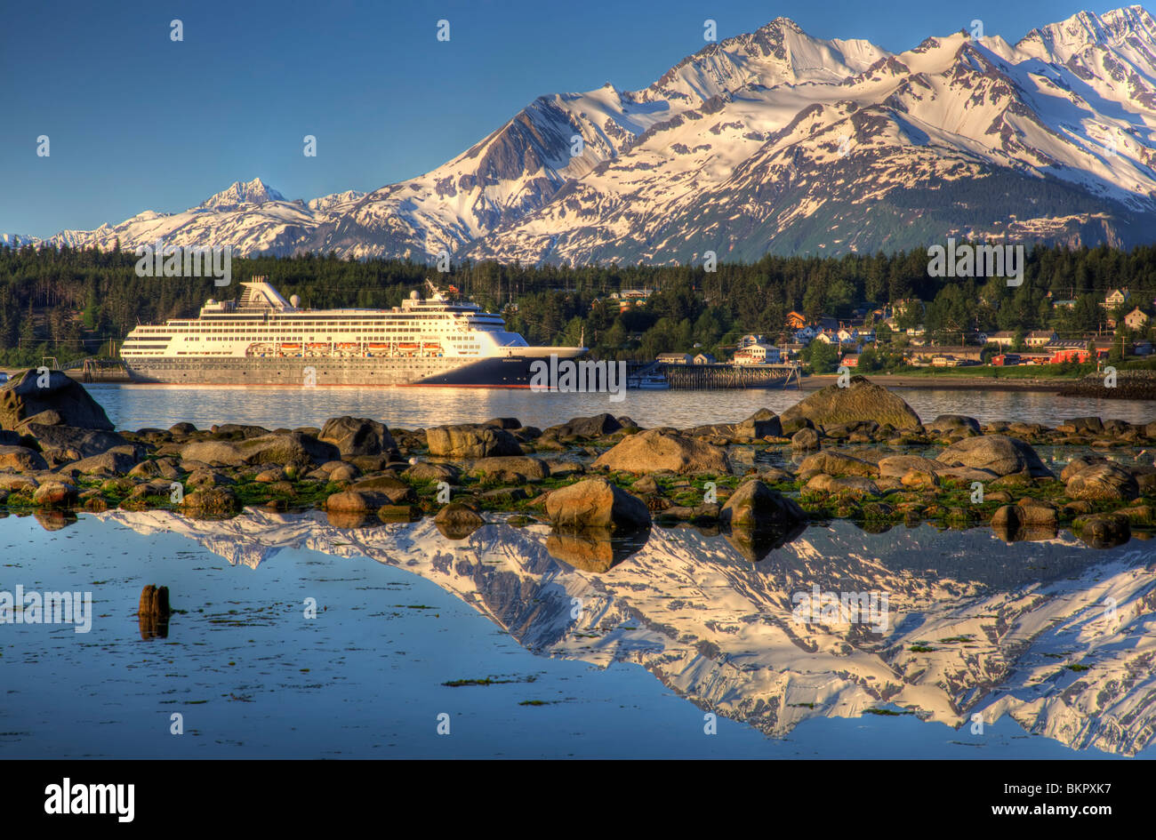 Holland America cruise ship 'Statendam' docked in Haines at sunrise, Southeast Alaska, Summer - Stock Image