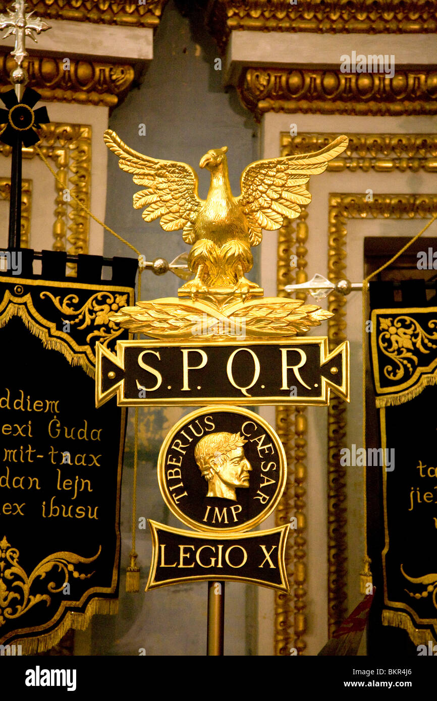 Europe Malta Banners And Symbols Representing The Roman Empire As