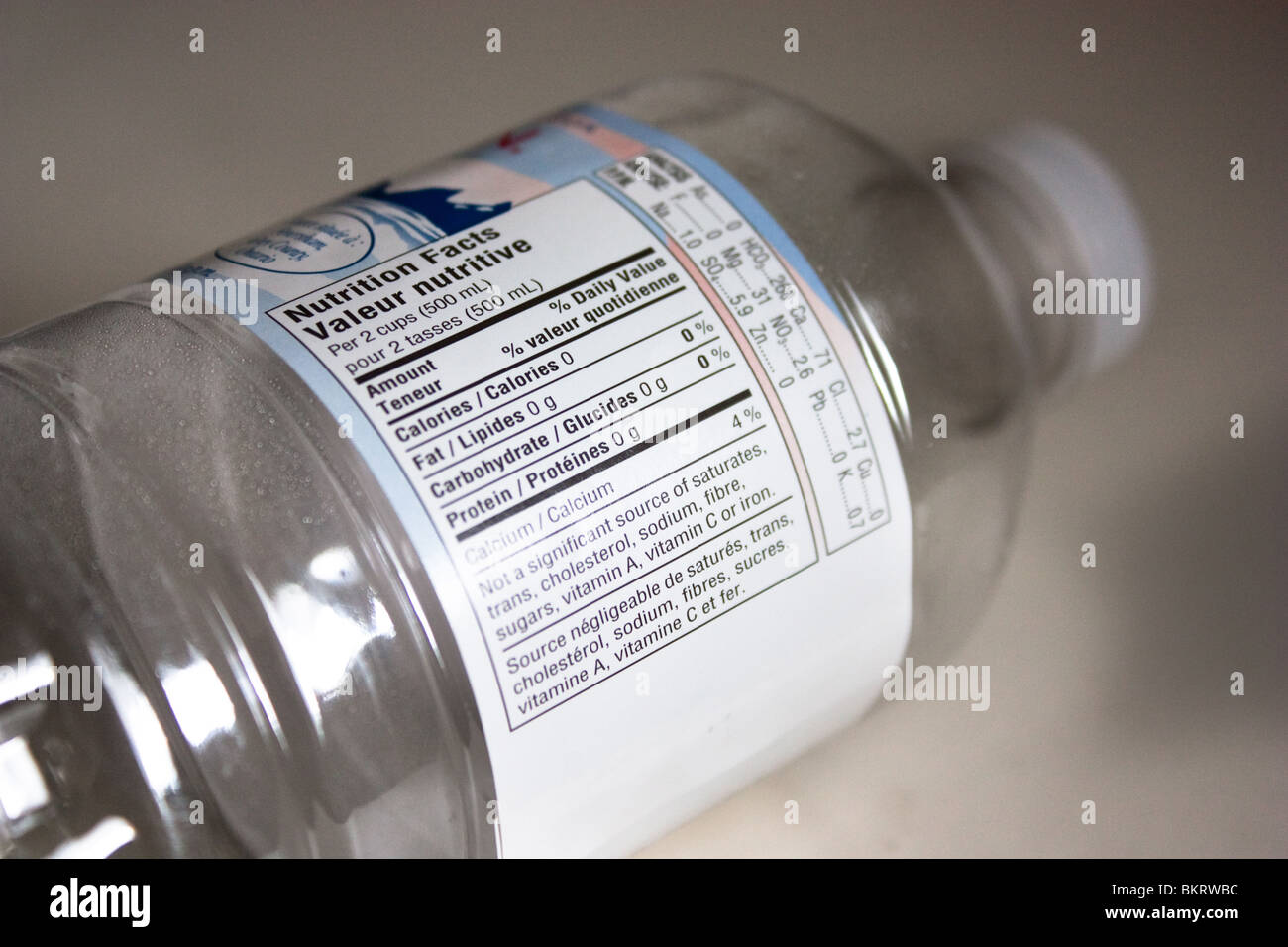 empty spring water bottom food label - Stock Image