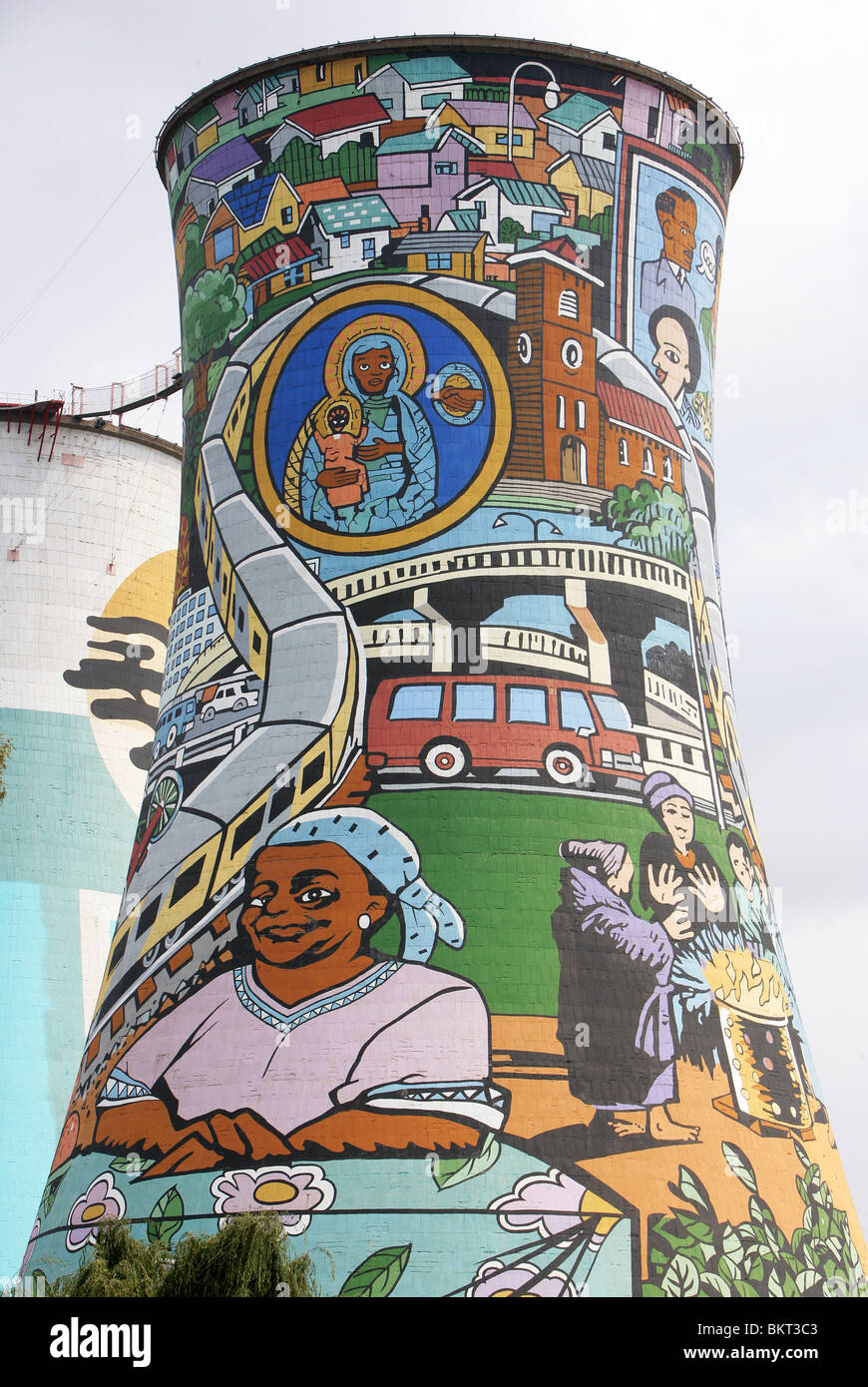 Painted Power Station Cooling Tower in Soweto, Johannesburg, South Africa - Stock Image