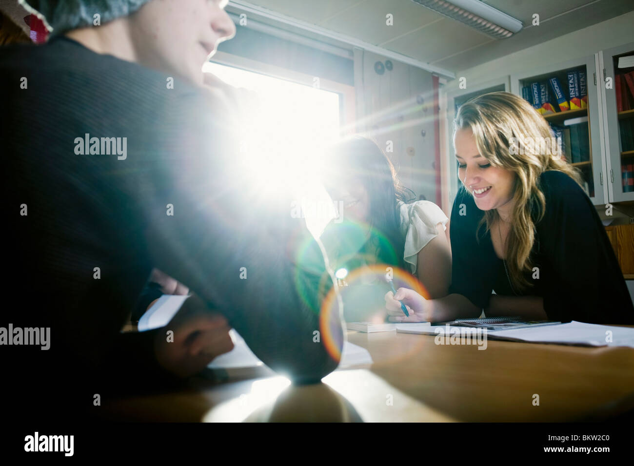 Teamwork in the light - Stock Image
