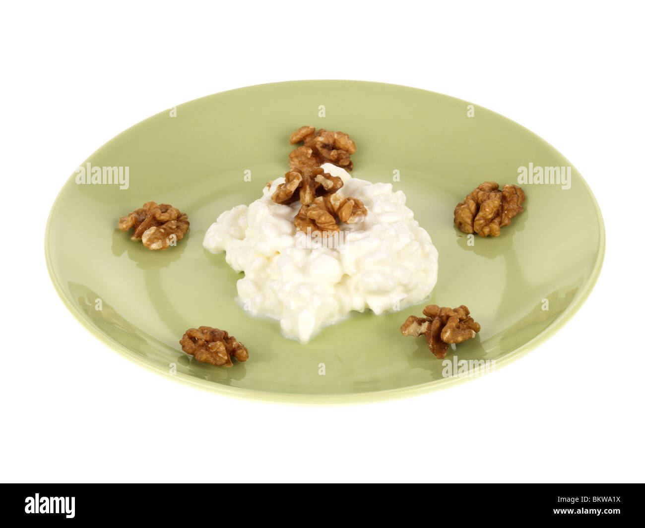 Walnuts with Cottage Cheese Stock Photo