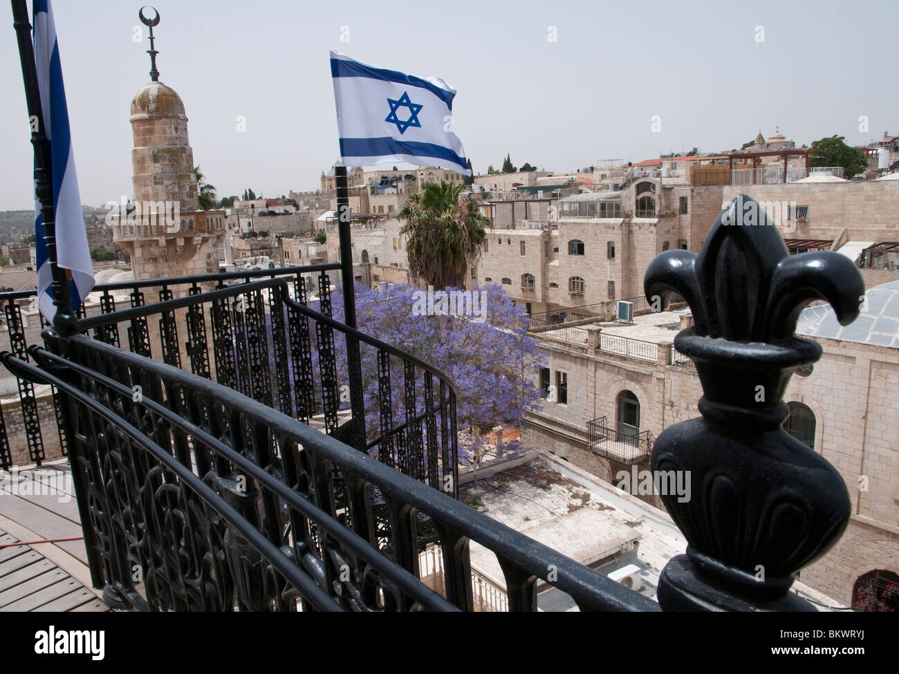 view from top terrace of Hurva synagog - Stock Image