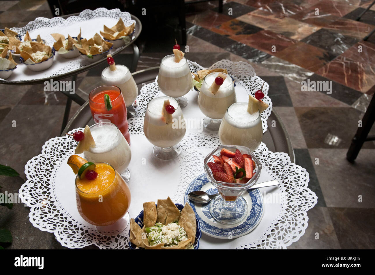 tray of delicious starter non-alcoholic drinks & appetizers to tempt diners at Sanborns House of Tiles restaurant - Stock Image