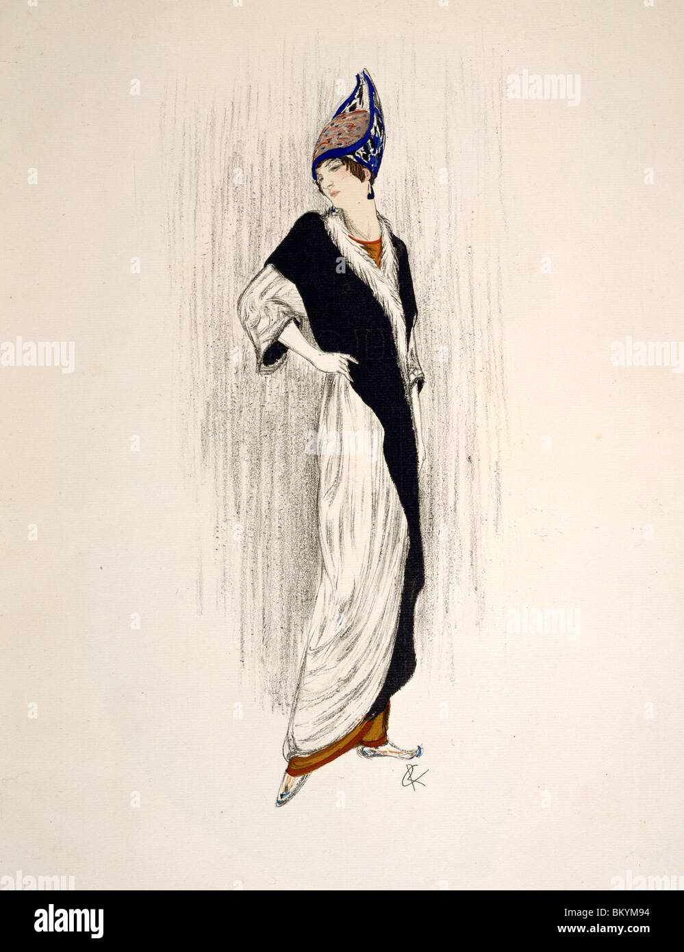 Woman with wrap  French Advertising Pieces  Iribe  Barbier and Lepape  USA  Illinois  Chicago  Newberry Library - Stock Image