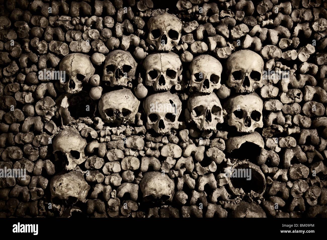 Close up of skulls in the Catacombs below Paris Stock Photo