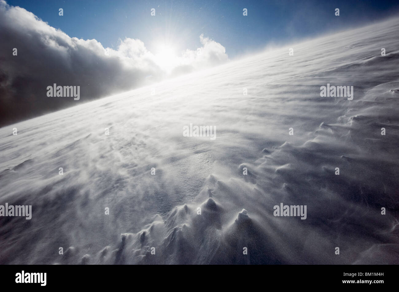 Wind blowing over snow covered Mount Fuji, Shizuoka Prefecture, Japan, Asia - Stock Image