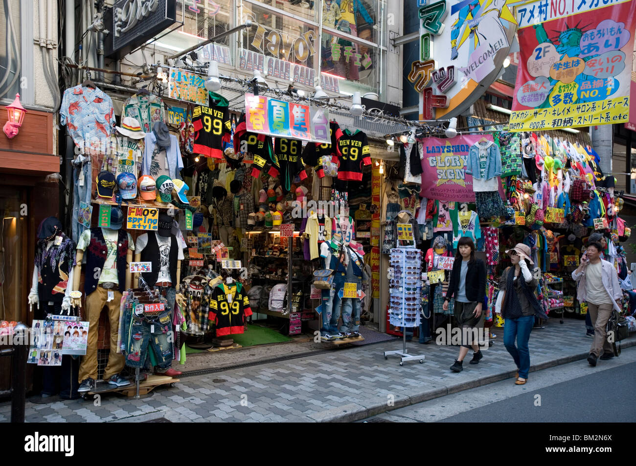 Colourful shop in Ame-mura, American Village, center of youth culture in Osaka, Japan - Stock Image
