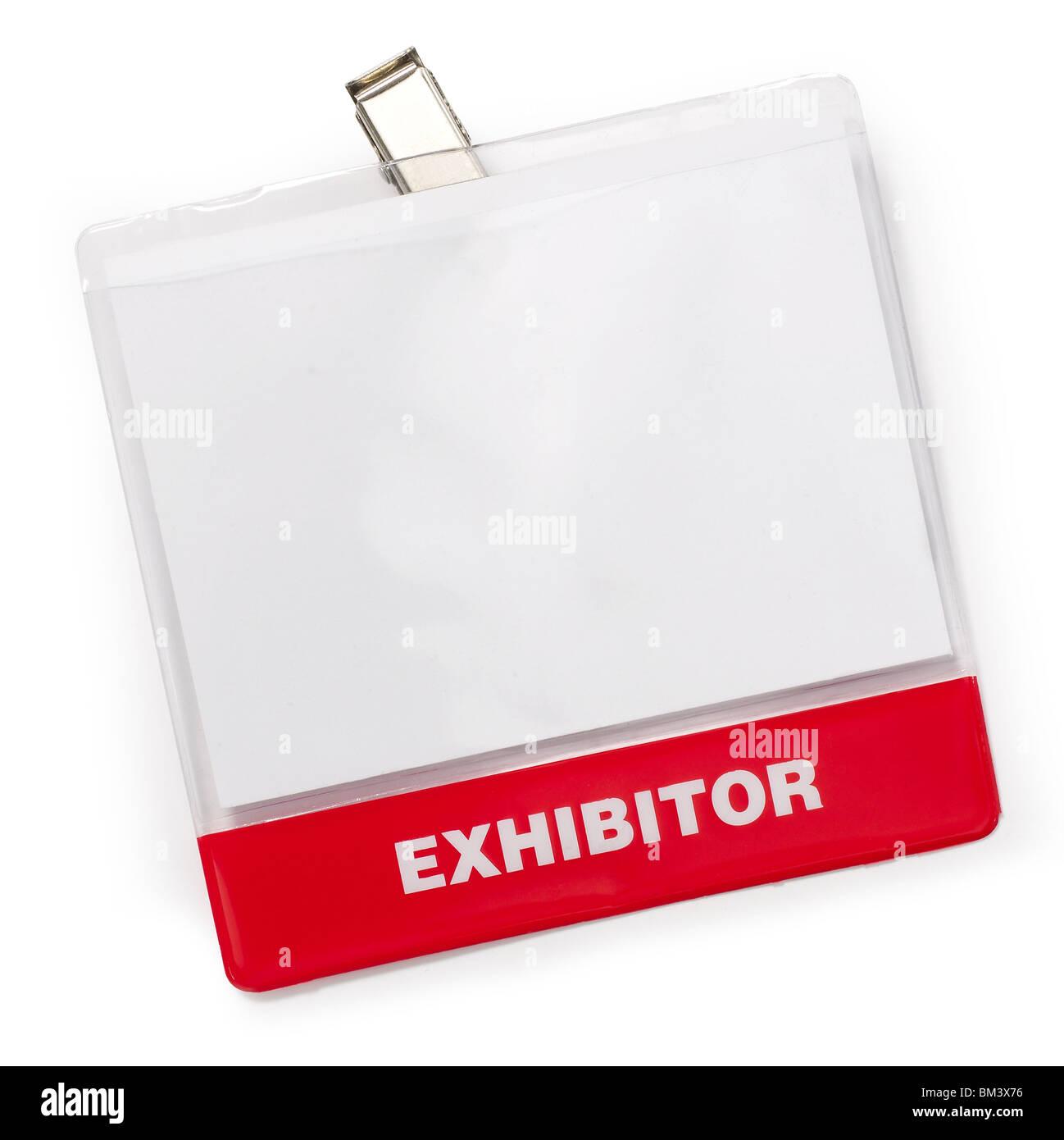 Exhibitor name badge - Stock Image