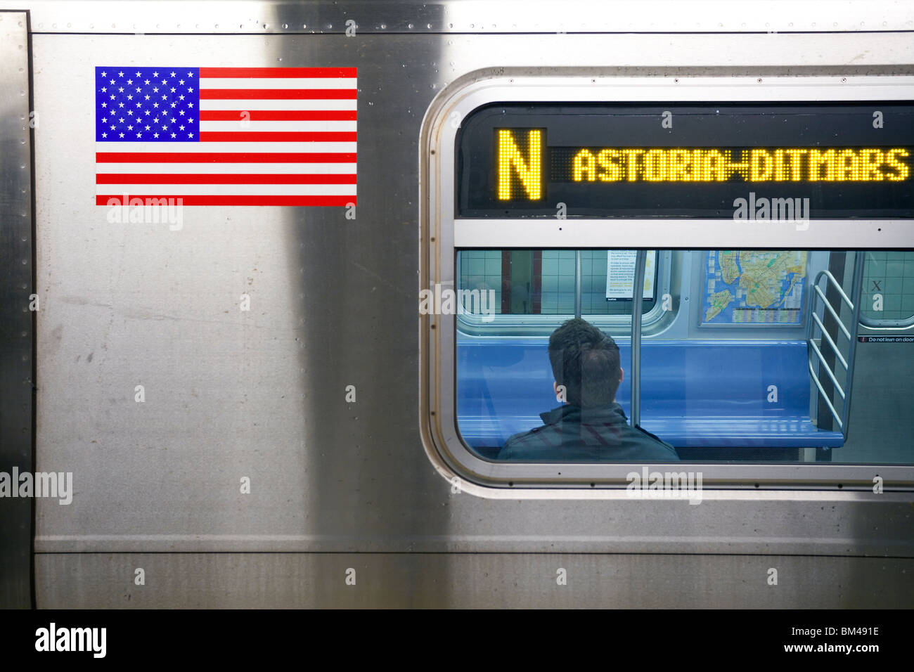United States of America, New York, New York City, Manhattan, Subway Station and train in motion - Stock Image