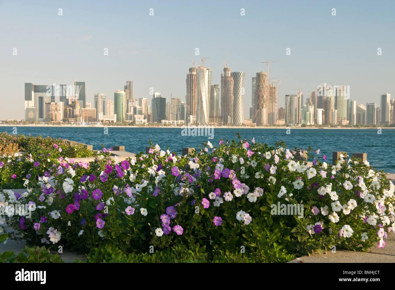 Qatar, Doha, city towers across Doha Bay - Stock Image